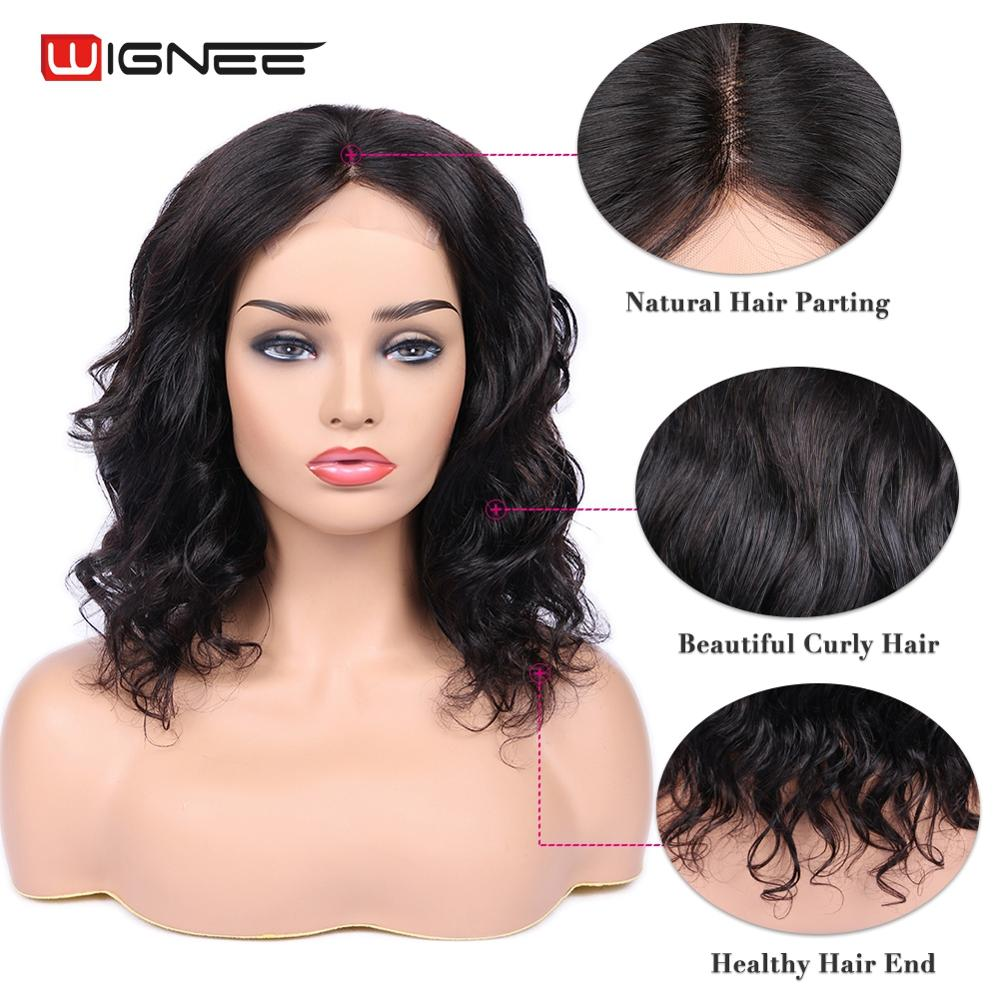 Wignee Loose Wave 4x4 Lace Closure Short Human Hair Wigs For Black Women 150% Density Glueless Hair Lace Part Short Human Wigs