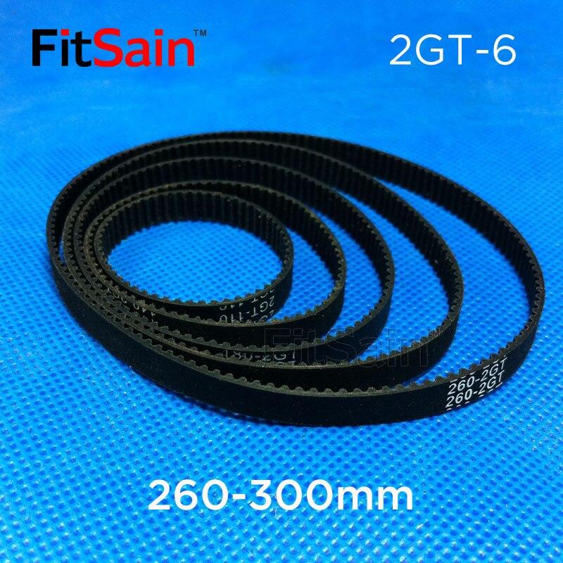 FitSain--2GT Bandwidth 6mm Timing Belt GT2 Conveyor Belt 260mm-300mm Drive Belt Ring with Rubber Belt