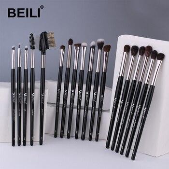 BEILI Makeup Brushes Set 18pcs Black Professional Natural Goat Pony Eyeshadow Eyebrow Blending Eyeliner make up brush set 1