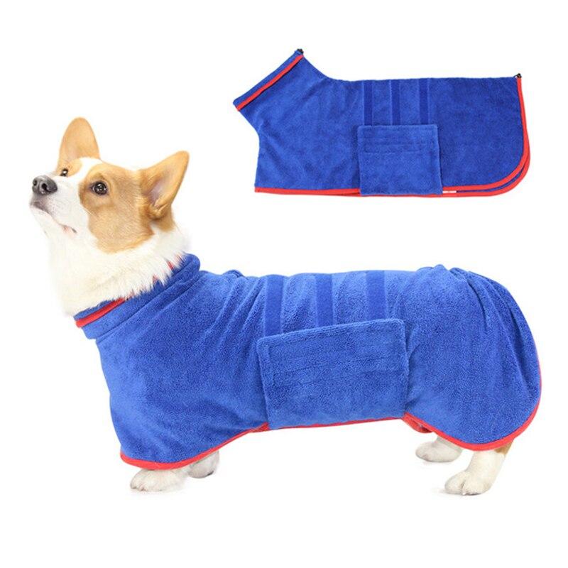 Dog Bathrobe 356g Microfiber Dog Drying Coat Super Absorbent Luxurious Soft Pet Bath Towel Adjustable Warm Dog Bathing Supplies