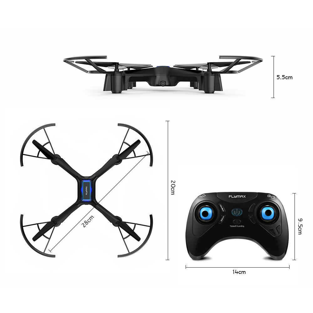 Flymax RC Quadcopter Drone 2.4G WIFI FPV Streaming Drones Toys Wide Angle HD Camera High Hold Mode Helicopters with LED light (Blue Orchid)