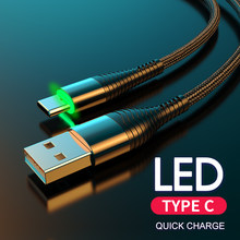 YKZ USB Typ C Kabel 3A Schnelle Lade LED USB C Kabel für Huawei S10 USBC Typ-c Daten sync Ladegerät für Xiaomi Samsung kabel drähte