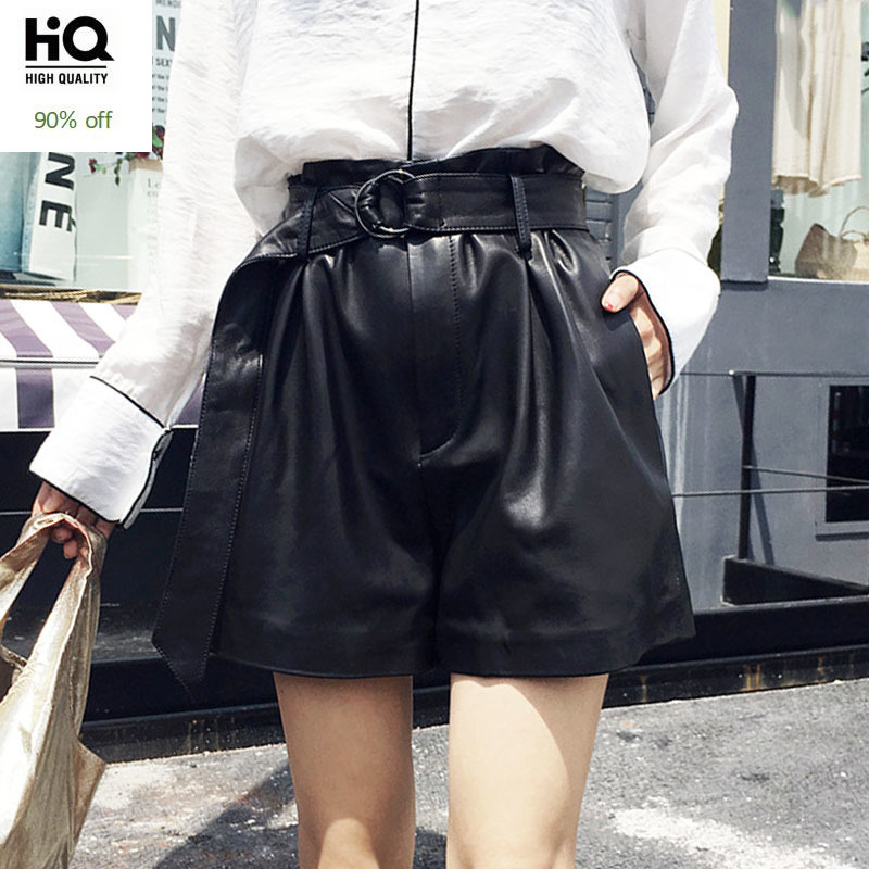 Italian Designer Summer High Waist Shorts Women Punk Belted Loose Wide Leg Short Feminino Luxury Sheepskin Real Leather Trousers