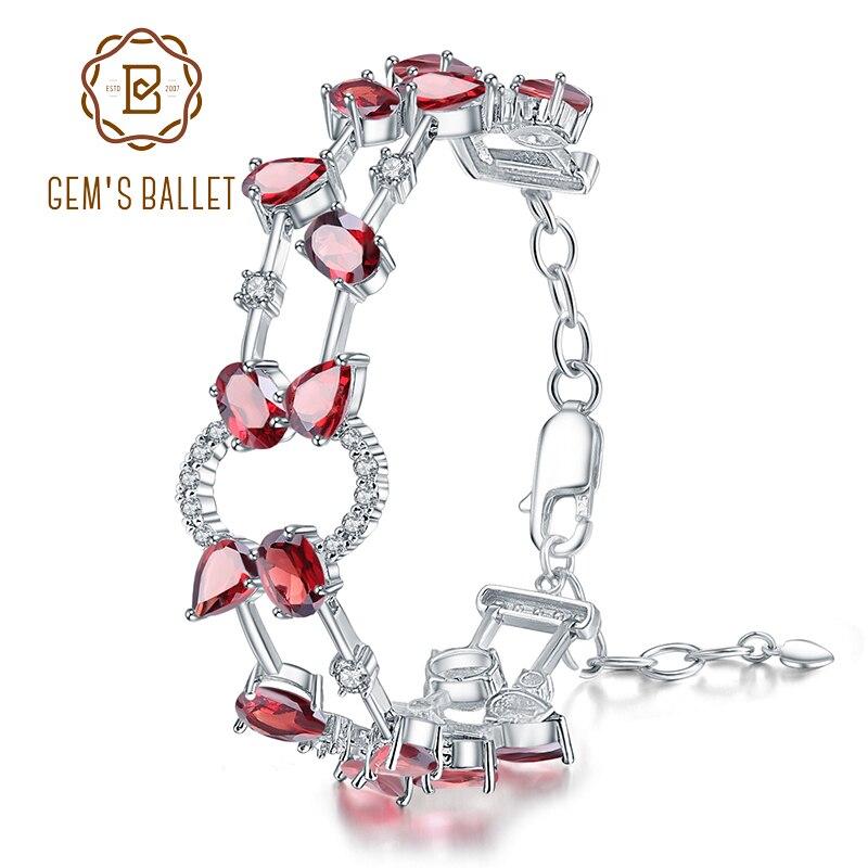 GEM'S BALLET 14.74Ct naturel rouge grenat pierre gemme lien Bracelet 925 en argent Sterling Bracelets et Bracelets pour les femmes bijoux de mariage