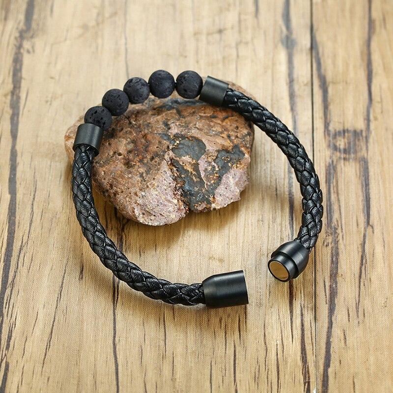 Titane acier homme Chakra bijoux en gros en acier inoxydable hommes en cuir noir volcanique perlé Bracelets en cuir pierre 3
