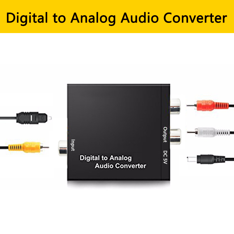 Digital Optical Coaxial To Analog RCA L/R Audio Converter Adapter Toslink SPDIF Coaxial To L/R  Amplifier For HDTV Blu Ray DVD