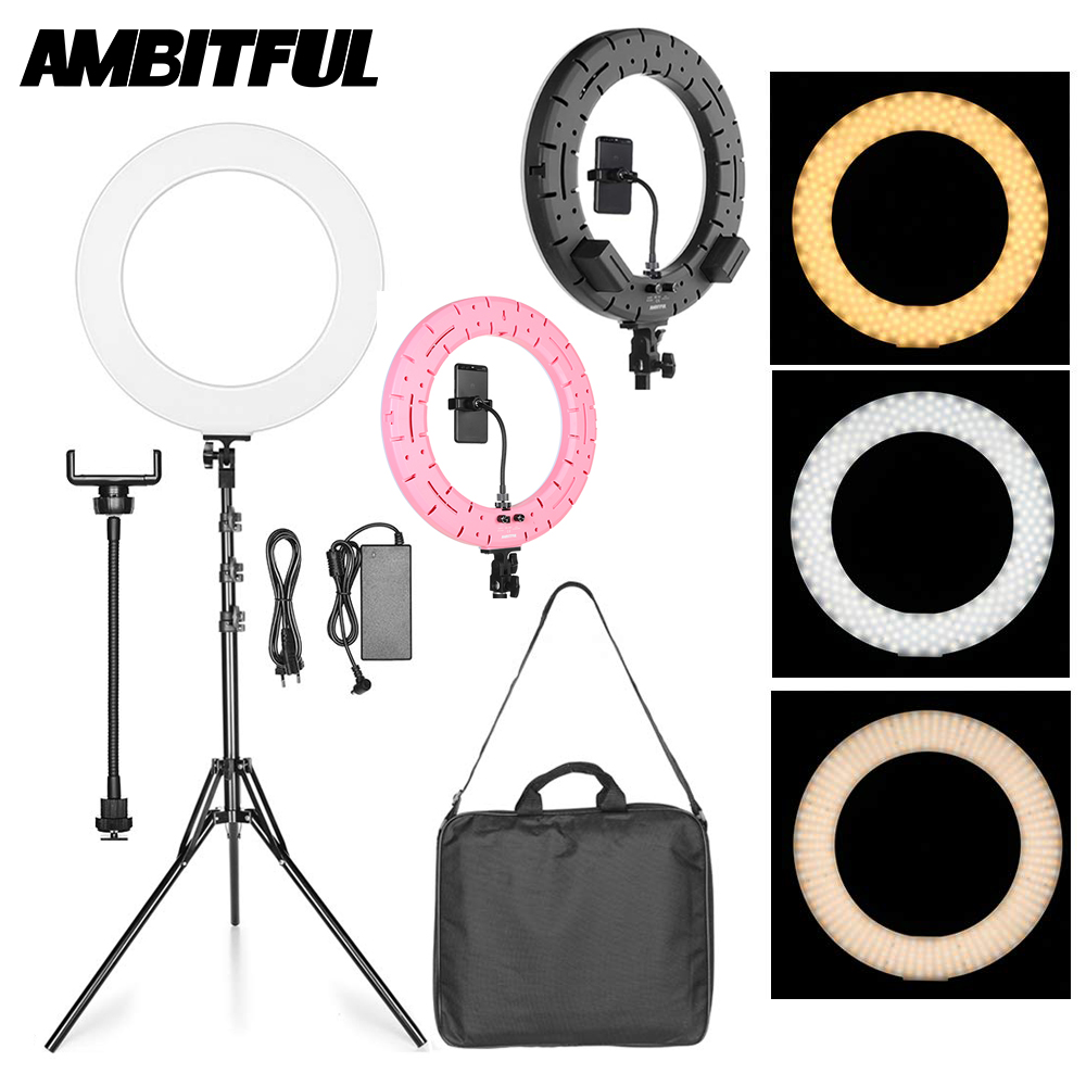 Moman 192 LED Ringlight for Makeup Phone YouTube Selfie Photography Camera Video Phone Holder Included Bi-Color 3200-5600K Brightness Dimmable Ring Light 10 Inch