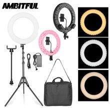 AMBITFUL RL 480 18 45 سنتيمتر عكس الضوء LED مصباح مصمم على شكل حلقة مصباح 60Ws 3000 ~ 6000K 480 LED مع حامل ضوء للصور طقم الإضاءة الفيديو