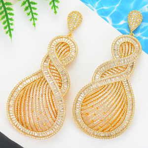 Image 4 - GODKI 90mm Luxury Tricolor Dangle Earrings Trendy Cubic Zircon Wedding Engagement Party Indian gold earrings for women 2019