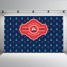 Mehofoto Anchor Step and Repeat Photo Backdrops for Photography Baby Shower Newborn Backgrounds Kids Boy Props MW-290