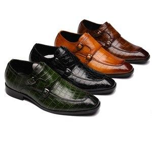 Image 1 - 男性ドレスシューズ手作りパティの結婚式靴メンズフラットレザーオックスフォード正式な靴
