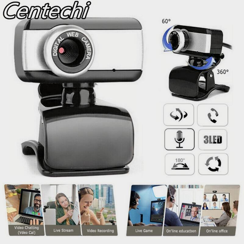 480p HD Webcam with Mic Rotatable PC Desktop Web Camera Cam Mini Computer WebCamera Cam Video Recording Work Plug and Play