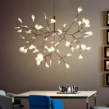 Modern Led Pendant Lights Nordic Branch of Leaves Pendant Lamp Living Room Dining Kitchen Hanging Lamp Home Decor Light Fixtures modern nordic rose plant pendant lights led glass hanging lamp for home decor luminaires dining room living room light fixtures