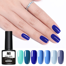 NEE JOLIE 8ml Blue Series Color UV Gel One-shot Nail Art Soak Off Polish Varnish 9 Colors For Design Accessories