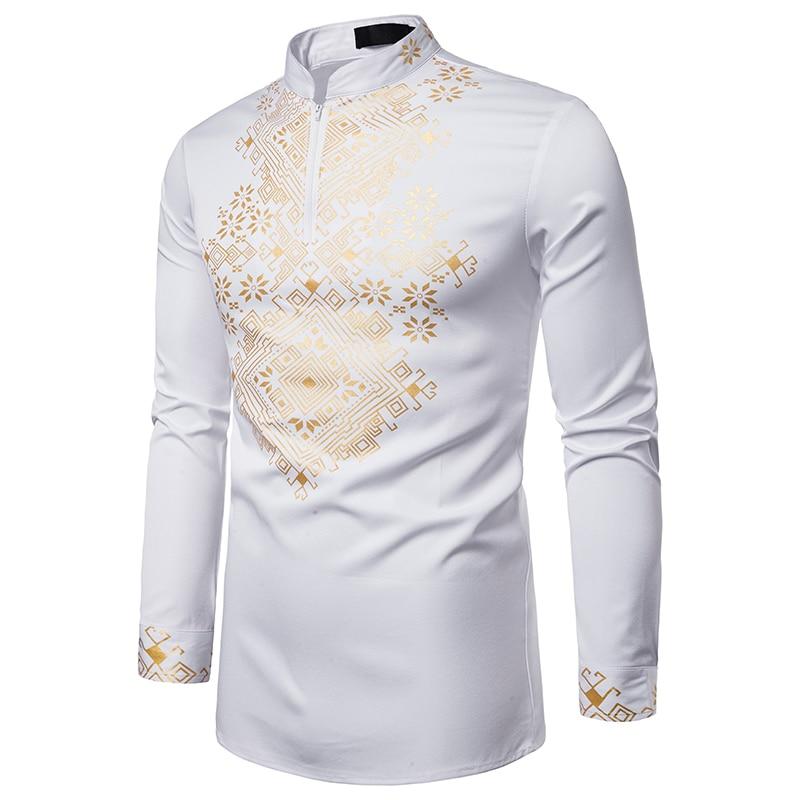 MJARTORIA 2019 Men African Gold Polished Turtleneck Half Zipper Shirt High Collar Asymmetrical Tailcoat Tunic Top For Men 2XL