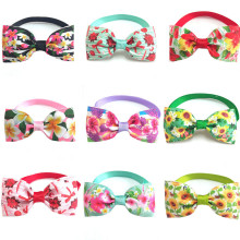 30/50pcs Spring Summer Colorful Flower Dog BowTies for Puppy Dogs Accessories with Adjustable Neckties Pet Dog Grooming Products
