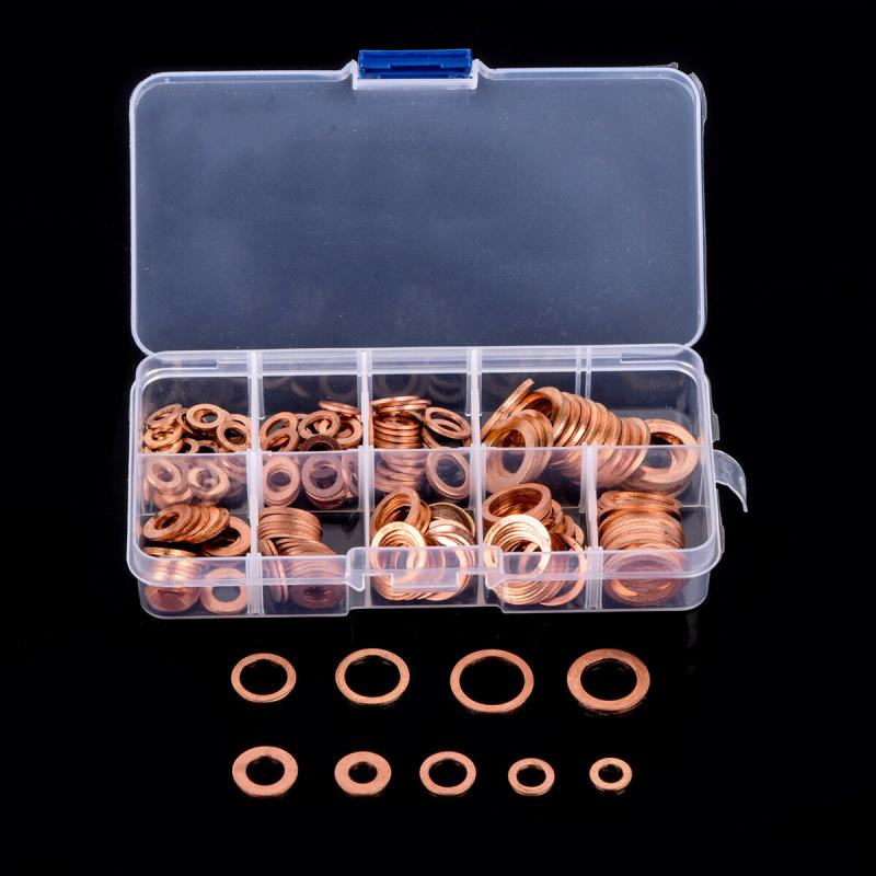 200PCS Copper Washer Gasket Set Flat Ring Seal Assortment Kit with Box M5/M6/M8/M10/M12/M14 for Sump Plugs