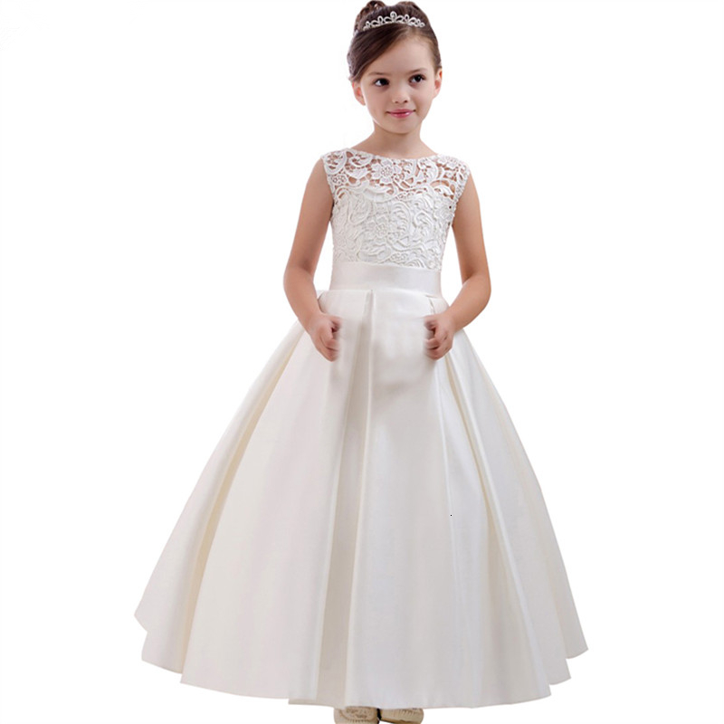 Birthday Party Flower Girls Dresses Lace Applique Sleeveless Elegant Satin Floor Length First Holy Communion Dresses