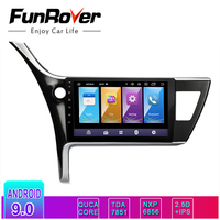 FUNROVER 2 din Android 9.0 IPS+2.5D car dvd gps Multimedia For Toyota Corolla 2017 2018 radio player navigation stereo WIFI RDS