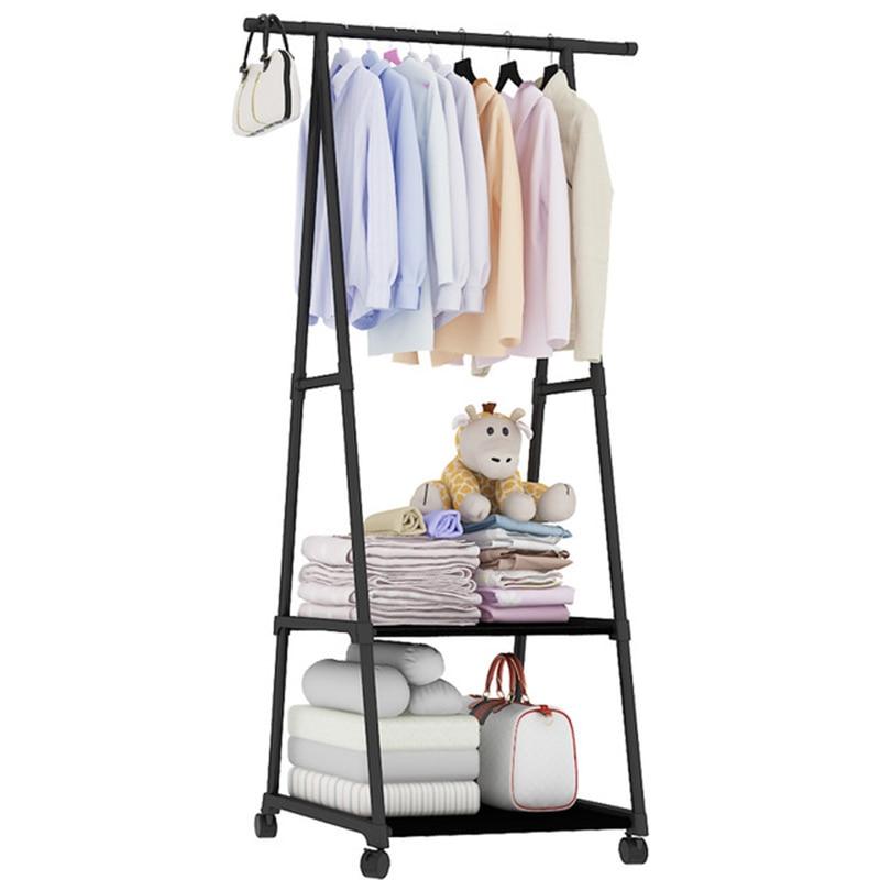 Bedroom Coat Rack Removable Clothes Hanger Floor Stand Coat Rack With Wheels Black Brown Pink Hanging Clothes Storage Rack Shelf