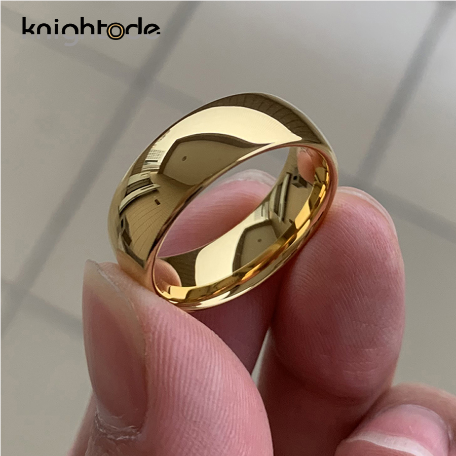Classic Gold Color Wedding Ring Tungsten Carbide Rings Women Men Engagement Ring Gift Jewelry Dome Polished Band Free Engraving 1