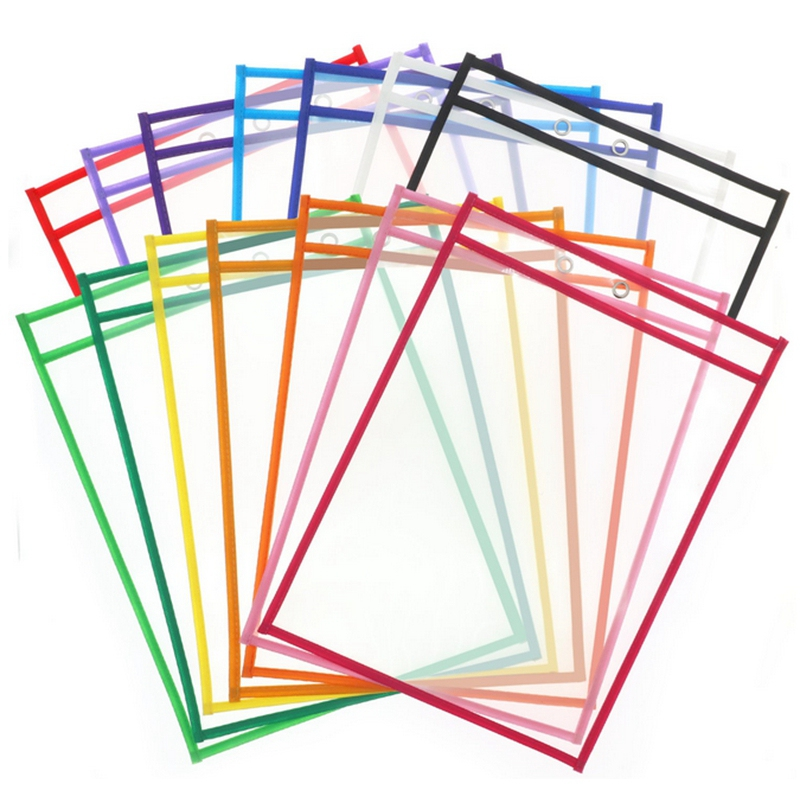 HOT-Reusable Dry Erase Pocket Sleeves With Marker Holder- Assorted Colors,Adult And Children. Use For School,Work,Teaching,Playi
