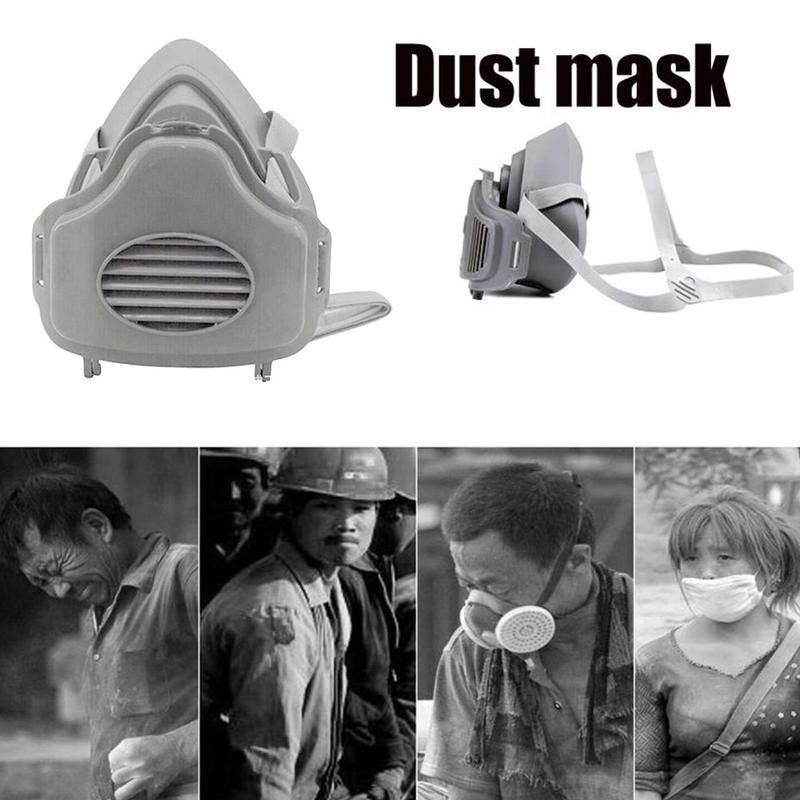 1set Half Face Gas Mask For 3200 Kn95 With 10pcs Replaceable Cotton Pad Anti Bacterial Dust Safety Protective Masks Mouth-muffle