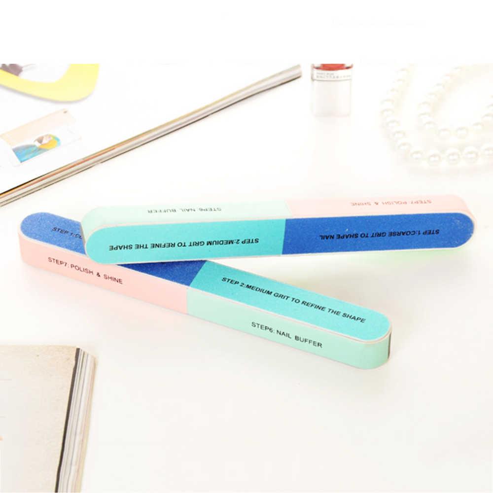 1PC 6 Sider Groothandel Nagelvijlen Borstel Duurzaam Buffing Polijsten Nagels File Nail Art Tool Schuren UV Willekeurige Kleur TSLM1
