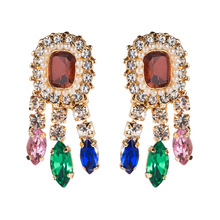 Lukeni 2019 New Arrival Za Chic Multi-color Crystal Tassel Earrings For Women Fashion Rhinestone Drop Dangle Jewelry
