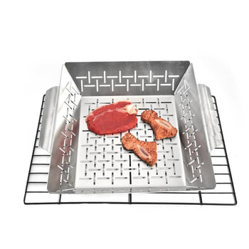 Barbecue Grill Pan Baking Tray Stainless Steel Square Vegetable Grill Basket BBQ Grid Topper Veggies Barbecue Wok Tool