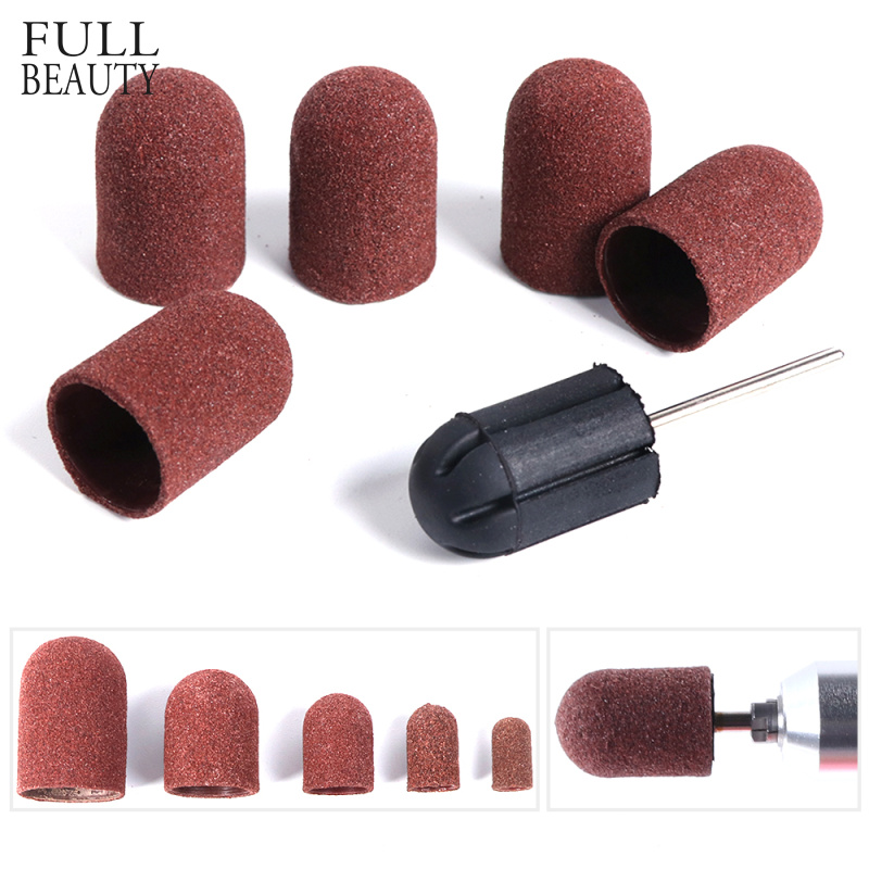 Multi-size Electric Nail Drill Bit Sanding Bands Caps 150 Grip Rubber Mandrel Machine Milling Cutter For Manicure Tools CH721