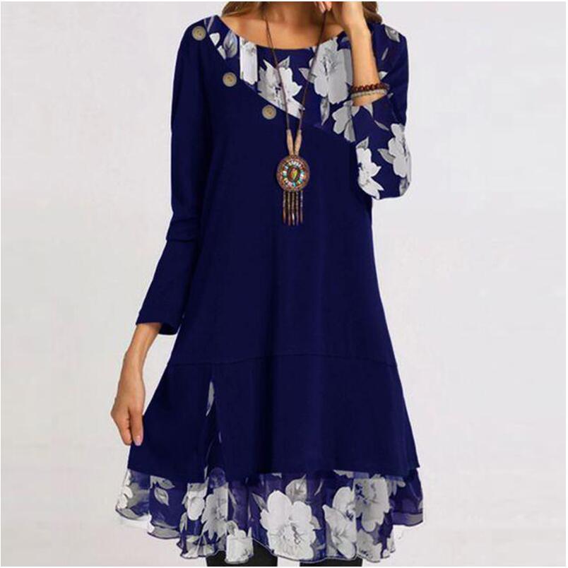 Vintage çiçek baskı Patchwork düğme elbise kadınlar zarif O boyun parti elbise 2021 bahar sonbahar uzun kollu elbise Vestido