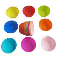Reusable Silicone Cake Baking Cup Round Shape Cupcake Liner pan Muffin Cupcake Mold/Muffin Cups Cake Mold Cake Spatula Oil Brush