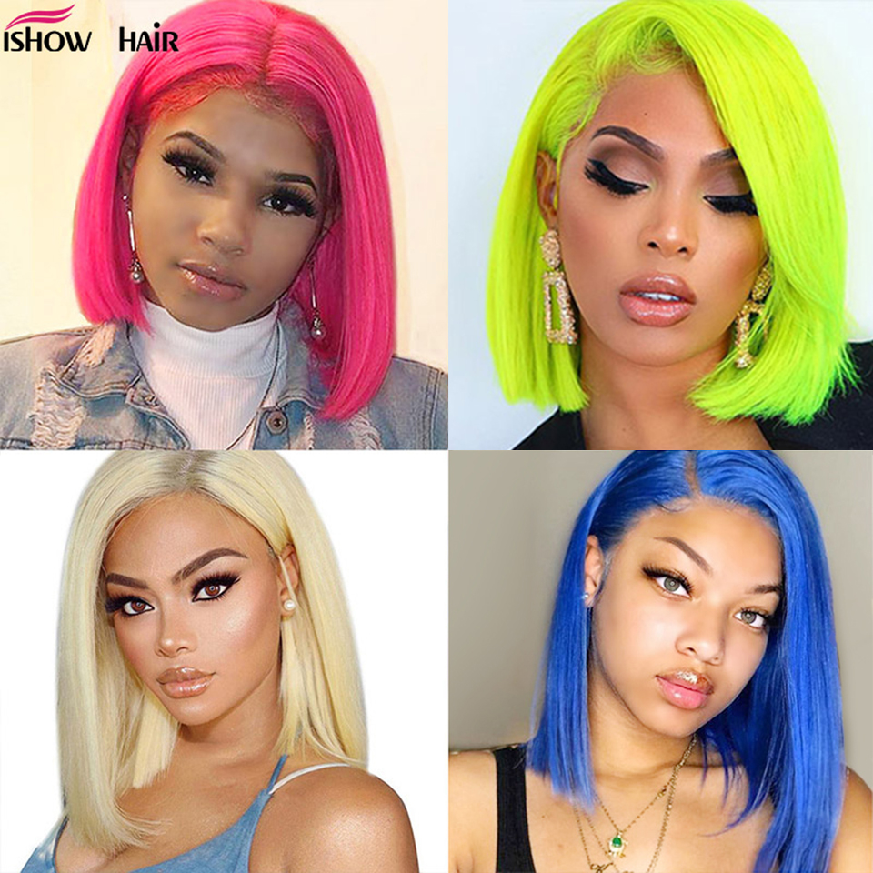 613 Straight Bob Wig 13X4 Short Lace Front Human Hair Wigs For Women 150% Pink / Blue /Blonde Malaysian Straight Lace Front Wig image