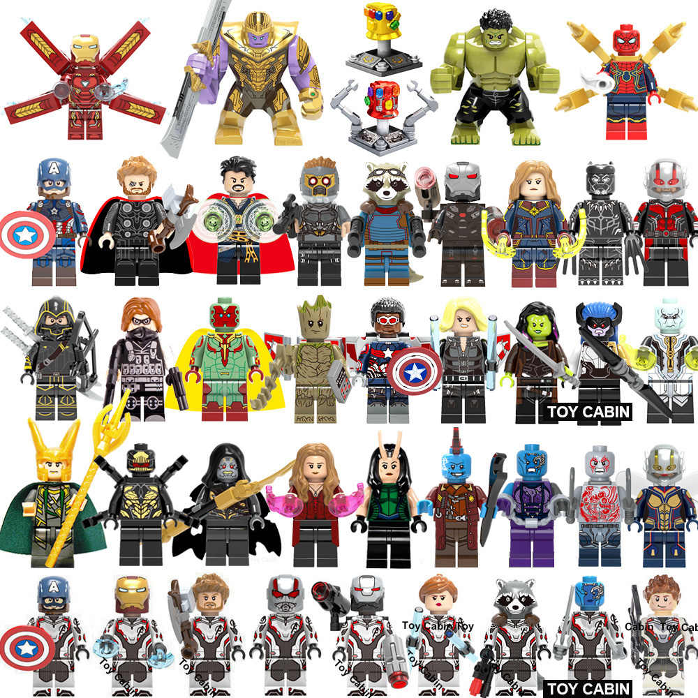 42Pcs/lot Super Heroes lEGOED Marvel avengers Endgame Iron Man Thanos Thor spiderman Captain America Hulk Building Blocks toy