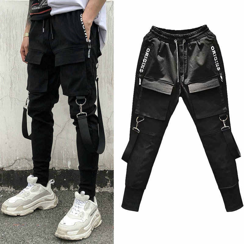 Pantalones De Chandal De Estilo Hip Hop Para Hombre Pantalon Bombacho De Estilo Haren Lapiz Multibolsillo Color Negro Novedad De 2020 Pantalones Informales Aliexpress