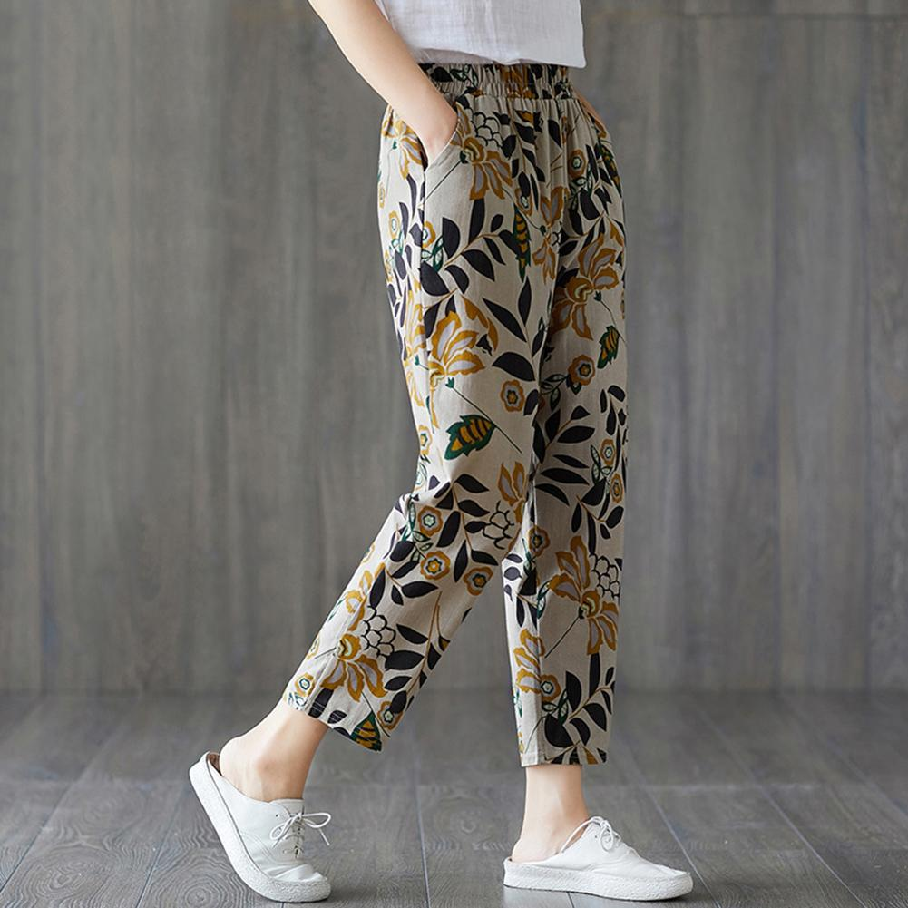 Women Thin Pocket Loose Elastic Waist Floral Print Capri PantsHarem Trousers Women's printed slacks