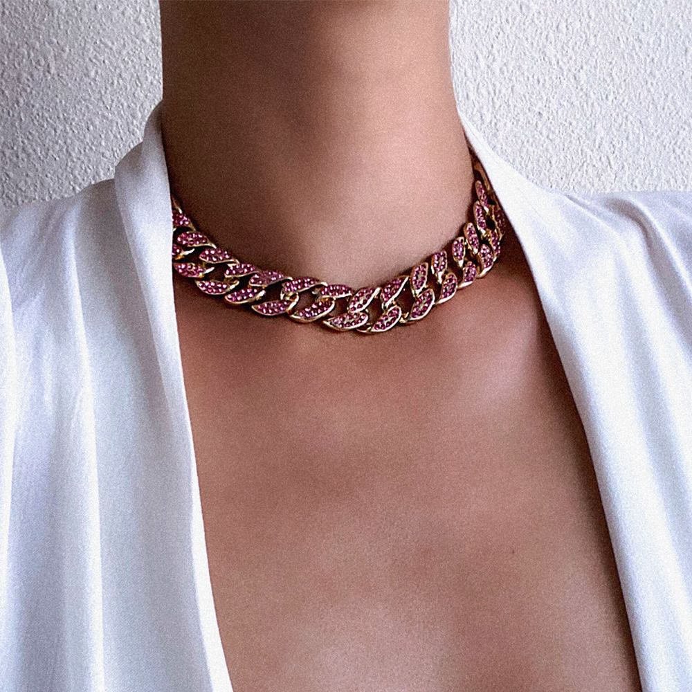 Iced Out Cuban Link Chain Necklace Bling Chains Choker Necklace Women Jewellery Girls Neck  Chocker Luxury Hip Hop Jewelry 2020|Chain Necklaces|   - AliExpress
