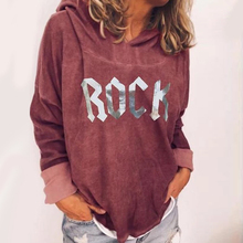 ROCK Letter Womens Hoodies Print 2019 Autumn Plus Size Loose Long Sleeve Hooded Sweatshirt Pullover Tops For Women