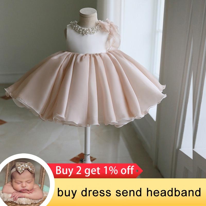 2021 платье для новорожденных с бусинами, платье на 1-й день рождения для маленьких девочек, платье-пачка принцессы, вечерние свадебные платья,...
