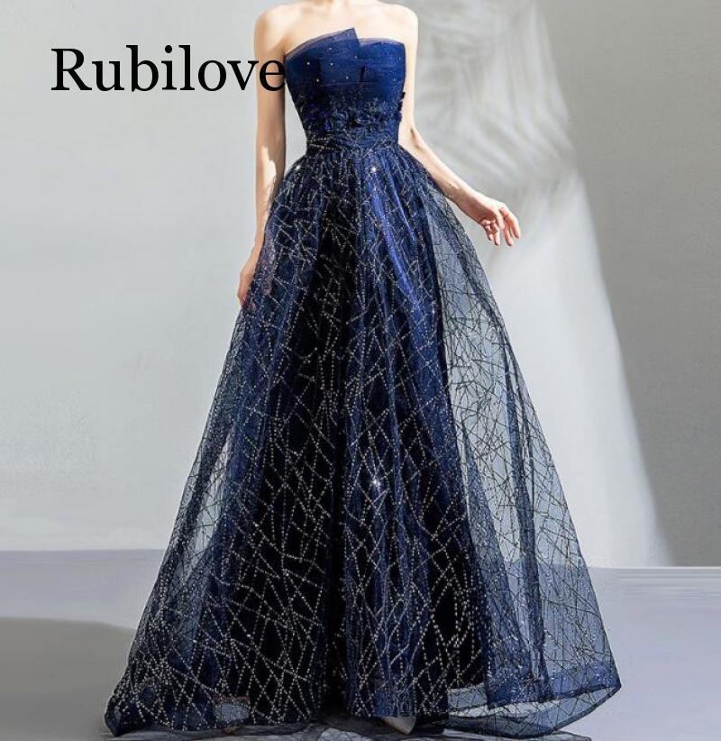 Rubilove Star Sky Dress Art Blue Tube Top Birthday Dinner Annual Meeting Dress Dress