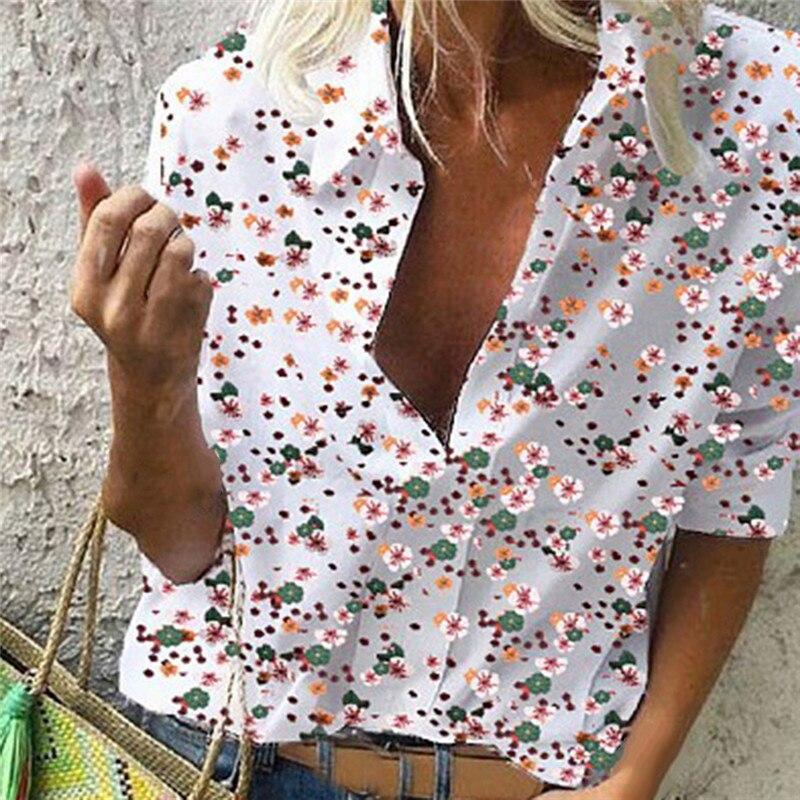 Летняя женская рубашка, повседневные свободные блузки, топы, новинка, блузка для отдыха, с принтом, v-образный вырез, длинный рукав, рубашки