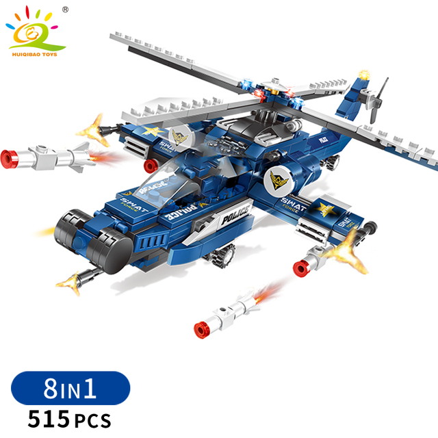 HUIQIBAO 515pcs 8in1 SWAT Police Building Blocks city Helicopter car 8 figures Bricks Educational Toys for Children