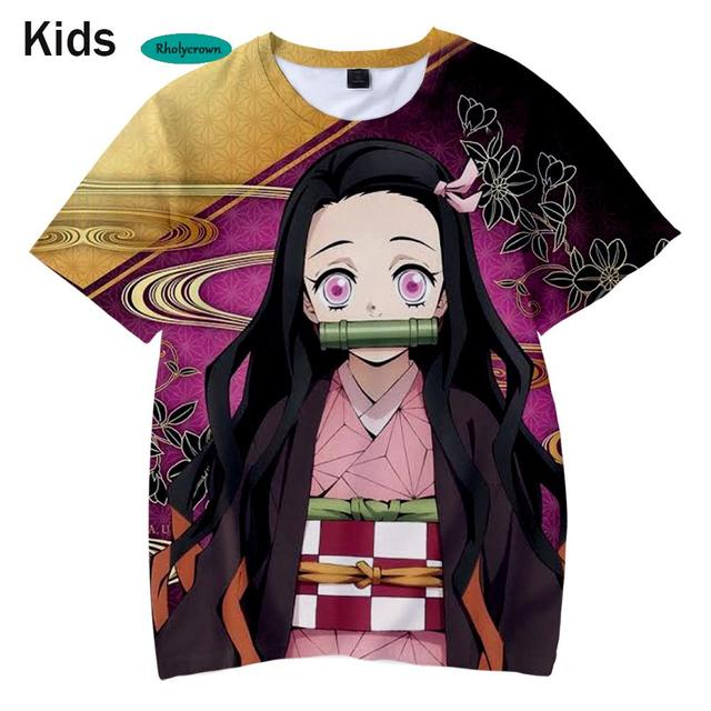Suitable 3D Kids T shirt 3D Printed Comic Demon Slayer t-Shirt New Boys and Girls 3D Kimetsu no Yaiba Children's Casual T-Shirt