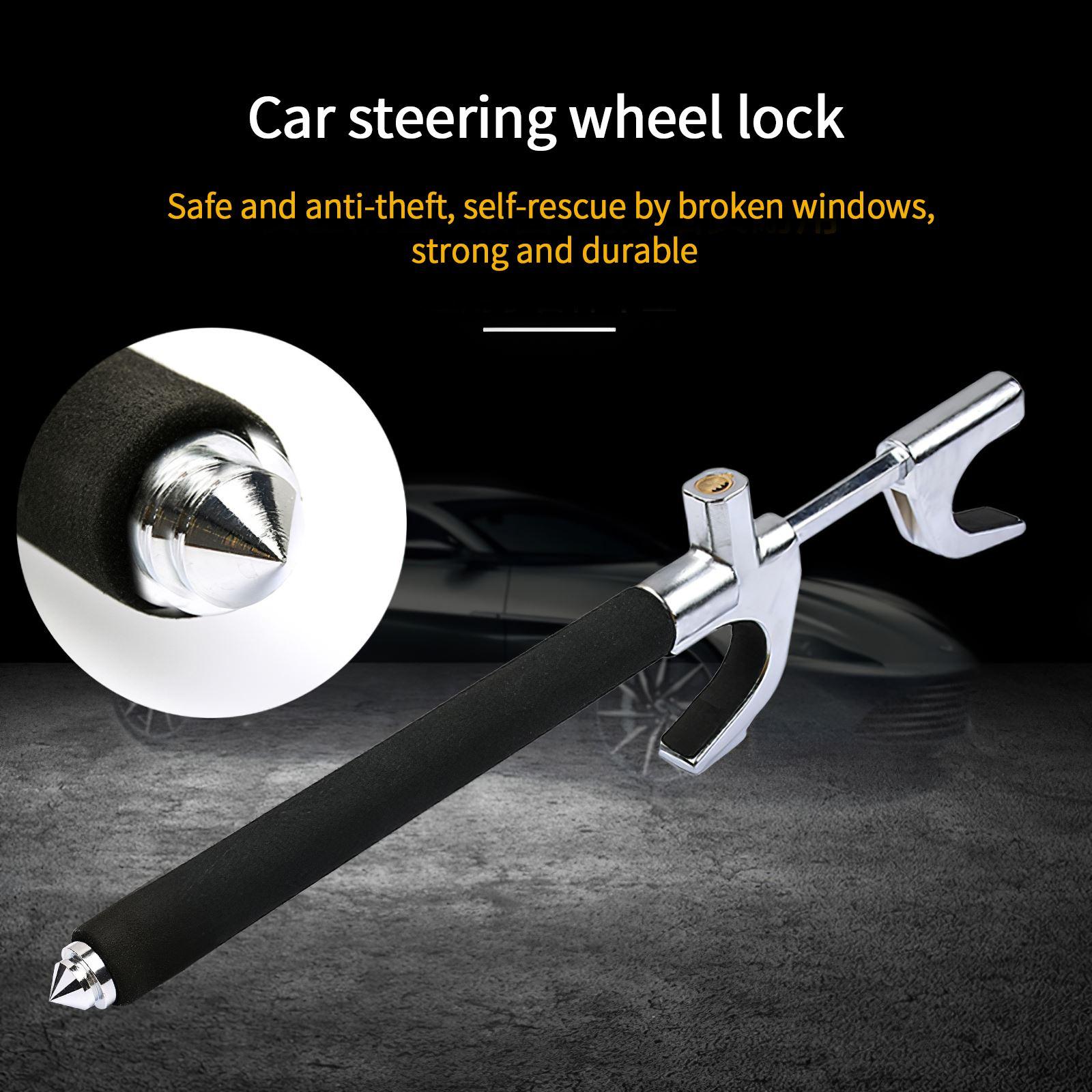 2021 New Universal Car Steering Wheel Lock With Window Breaker Heavy Duty Anti-Theft Car/Van Security Rotary Steering Wheel Lock