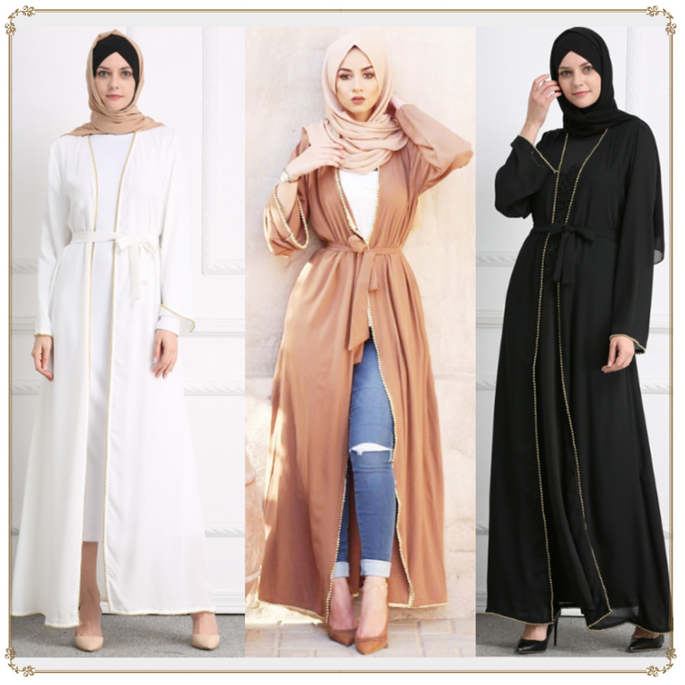 2019 New Middle East Robe, Muslim Bead Size Women Cardigan  Plus Size