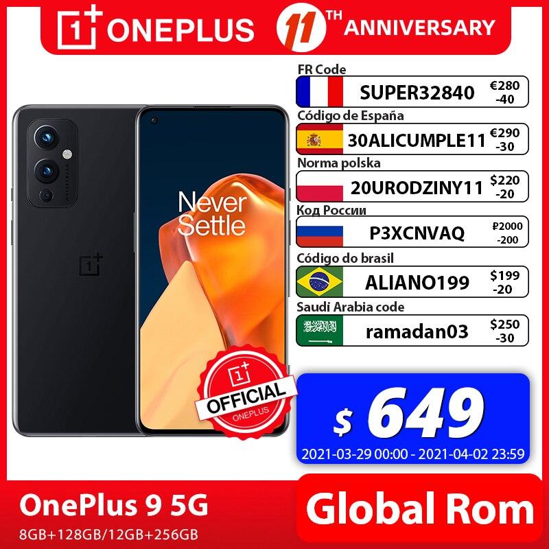 Global Rom OnePlus 9 5G Snapdragon 888 8GB 128GB Smartphone 6 5 120Hz Fluid AMOLED Display