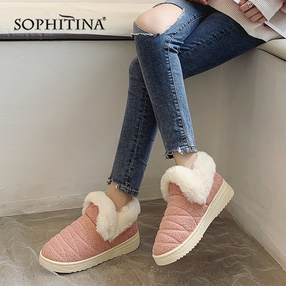 SOPHITINA Solid Comfortable Slipper Winter Round Toe Fashion Design New Shoes Very Warm Slipper MO371