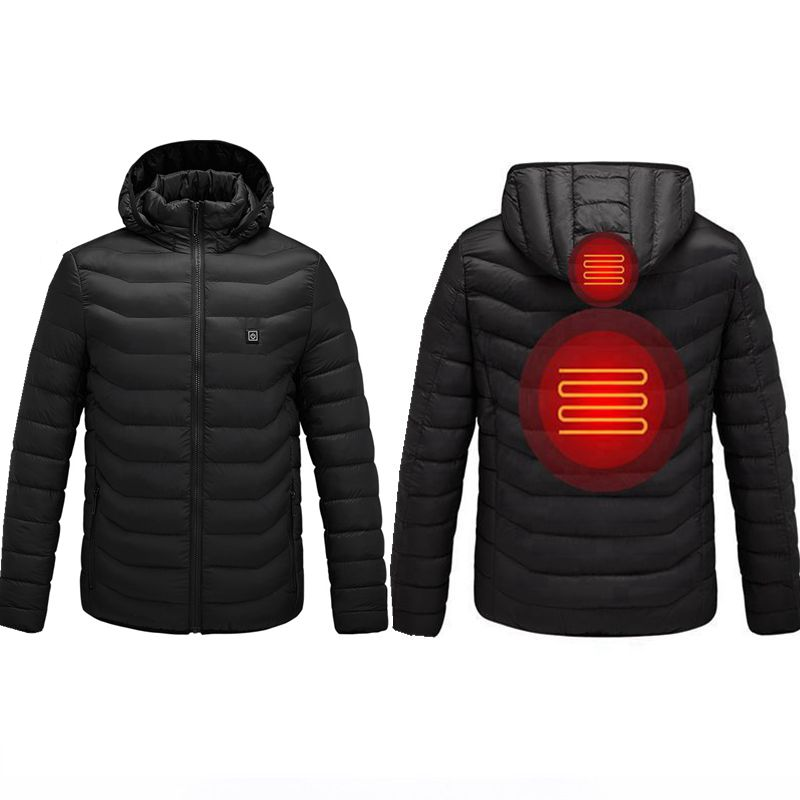 2019 NWE Men Winter Warm USB Heating Jackets Smart Thermostat Pure Color Hooded Heated Clothing Waterproof Warm Jackets