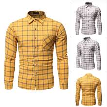 New brand casual spring Autumn luxury plaid long sleeve slim fit men shirt streetwear social dress shirts mens fashions Big yard